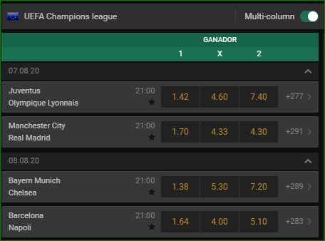 Apuestas Champions League Octavos Final